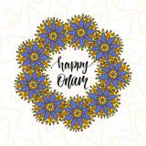 Happy Onam vector illustration. Holiday brush modern calligraphy Royalty Free Stock Photography