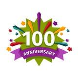 Happy one hundredth birthday badge vector icon. Stock Photo
