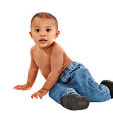 Happy One Year Old African American Baby Boy Stock Photo