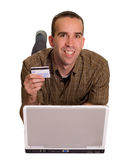 Happy Online Shopper. A happy online shopper, isolated against a white background stock photography