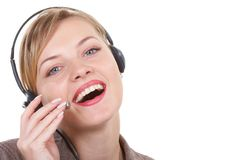 The happy operator. Communicates with the client Royalty Free Stock Image