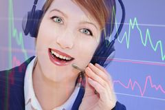 Happy operator. Woman operator portrait  in communication Royalty Free Stock Photos