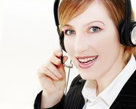 Happy operator. Woman operator portrait  in communication Royalty Free Stock Photo