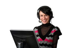 Happy operator with computer Stock Photo