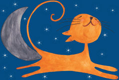 The happy orange cat on sky in the night. The very happy orange cat and it jumps over the stars and the moon in the night Royalty Free Stock Image