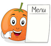 Happy Orange Character with Blank Menu Royalty Free Stock Image