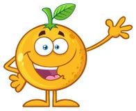 Happy Orange Fruit Cartoon Mascot Character Waving For Greeting. Illustration Isolated On White Background Stock Photos