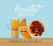 Happy orange juice with croissant and cookie. Vector illustration vector illustration