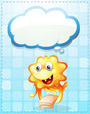 A happy orange monster with papers and an empty cloud template Stock Photos