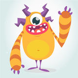 Happy orange monster. Vector Halloween  monster with one eye waving. Vector isolated on light background Stock Image