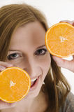 Happy with oranges near Stock Image