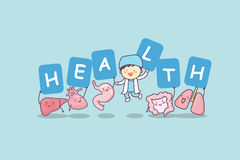 Happy organ cartoon with billboard. Heart, lung, liver, stomach ,intestine and doctor, great for health care concept Stock Images