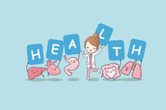 Happy organ cartoon with billboard. Heart, lung, liver, stomach ,intestine and doctor, great for health care concept Royalty Free Stock Photo