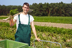 Happy organic farmer Royalty Free Stock Photography