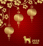 Happy Oriental Card for Chinese New Year 2018 Stock Photo