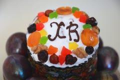 Happy Orthodox Easter kulich cake Stock Photo