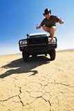 Happy Outback Off Road Driver Stock Photo