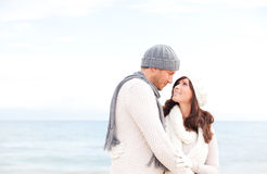 Happy outdoor couple stock photography