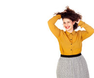 Happy overweight girl touching her hair. Isolated on a white background royalty free stock photo