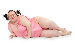 Happy overweight woman. Stock Photos