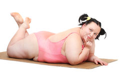 Happy overweight woman. Royalty Free Stock Photography