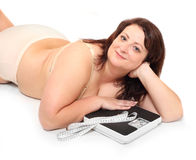 Happy overweight woman. Stock Images