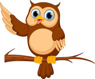Happy Owl cartoon. Illustration of Happy Owl cartoon isolated on white stock illustration