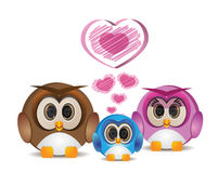 Happy owl family Royalty Free Stock Photography