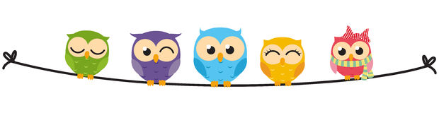 Happy Owl family sit on wire. Illustration of Happy Owl family sit on wire Royalty Free Stock Photos