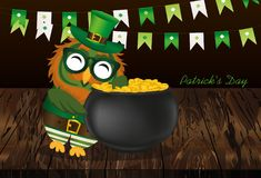 A happy owl with a pot of gold coins in a national costume and g. Lasses for St. Patrick`s Day. The wing climbed into the cauldron. Garland of flags. Greeting Royalty Free Stock Photos