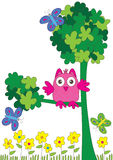 Happy Owl Welcome_eps. Illustration of happy owl, look welcome with tree, flowers and butterflies on white background Stock Photos