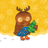 Happy owlet with tree Royalty Free Stock Photo