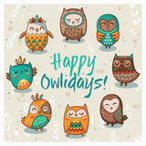 Happy owlidays card with owls. Vector illustration Royalty Free Stock Photography