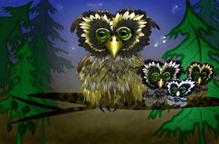 Happy owls family sitting on a tree branch. Owls sitting upon a tree branch vector illustration