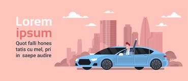 Happy Owner Driving New Car Over Silhouette City Background Vechicle Purchase Concept. Flat Vector Illustration vector illustration