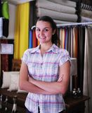 Happy owner of fabric store Stock Photography