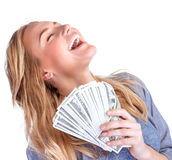 Happy owner of money. Pretty woman with money isolated on white background, winner in financial lottery, success conception Royalty Free Stock Image