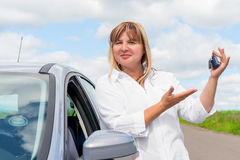 Happy owner of a new car Royalty Free Stock Photo
