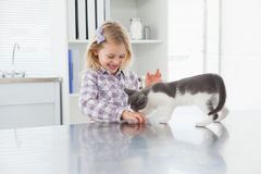 Happy owner petting her cute kitten Stock Image