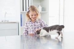 Happy owner petting her cute kitten Stock Photo