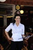 Happy owner of a restaurant. Small business: happy owner of a restaurant stock photo