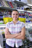 Happy owner of stationery shop. Small business: happy owner of a stationery shop royalty free stock photos