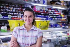 Happy owner of stationery shop Royalty Free Stock Photo