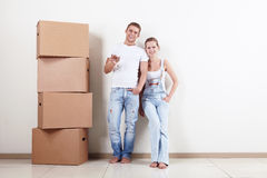 Happy owners of apartments Royalty Free Stock Photography