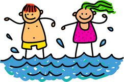 Happy Paddling Kids Whimsical Cartoon Illustration Of A Boy And Girl In The