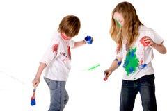 Happy paint fight Royalty Free Stock Photos