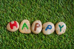 Happy paint on stone , on the grass Stock Photography