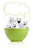 Happy painted eggs in a bowl Royalty Free Stock Image