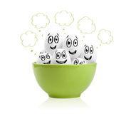 Happy painted eggs in a bowl Royalty Free Stock Photo