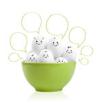 Happy painted eggs in a bowl Royalty Free Stock Photography